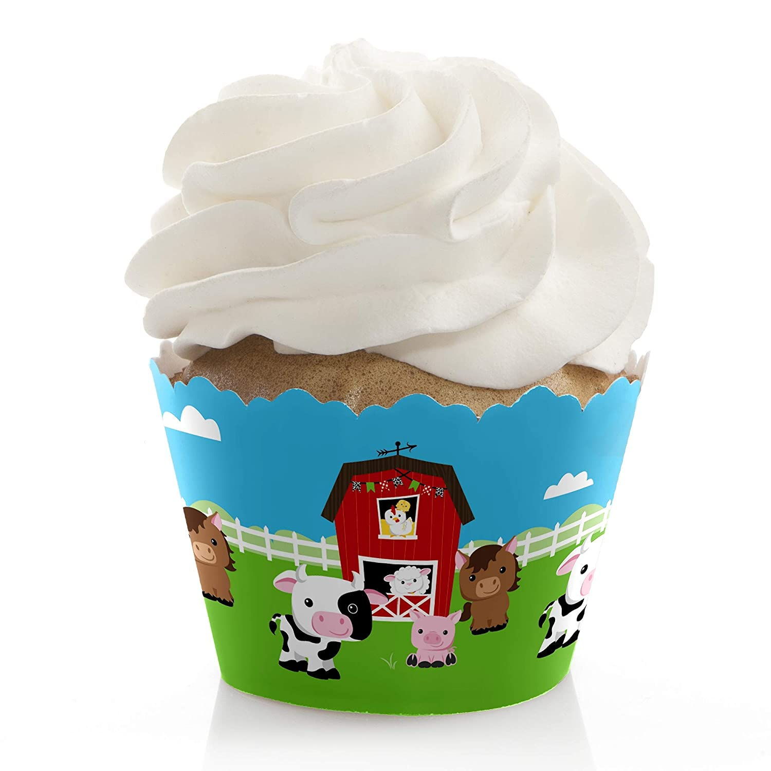 Set of 12 Baby Shower or Birthday Party Decorations Party Cupcake Wrappers Farm Animals