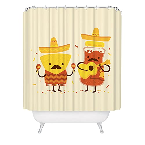 Flavorful Fiesta Shower Curtain Chips And Salsa Artwork Musical Guitar Food