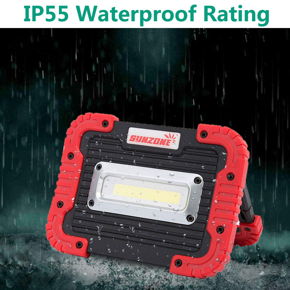 Portable LED Spotlight Work Light Camping Flood Security Lights Built-in  Rechargeable 18650 Battery IP55 Waterproof Power Bank COB Light with SOS  Mode