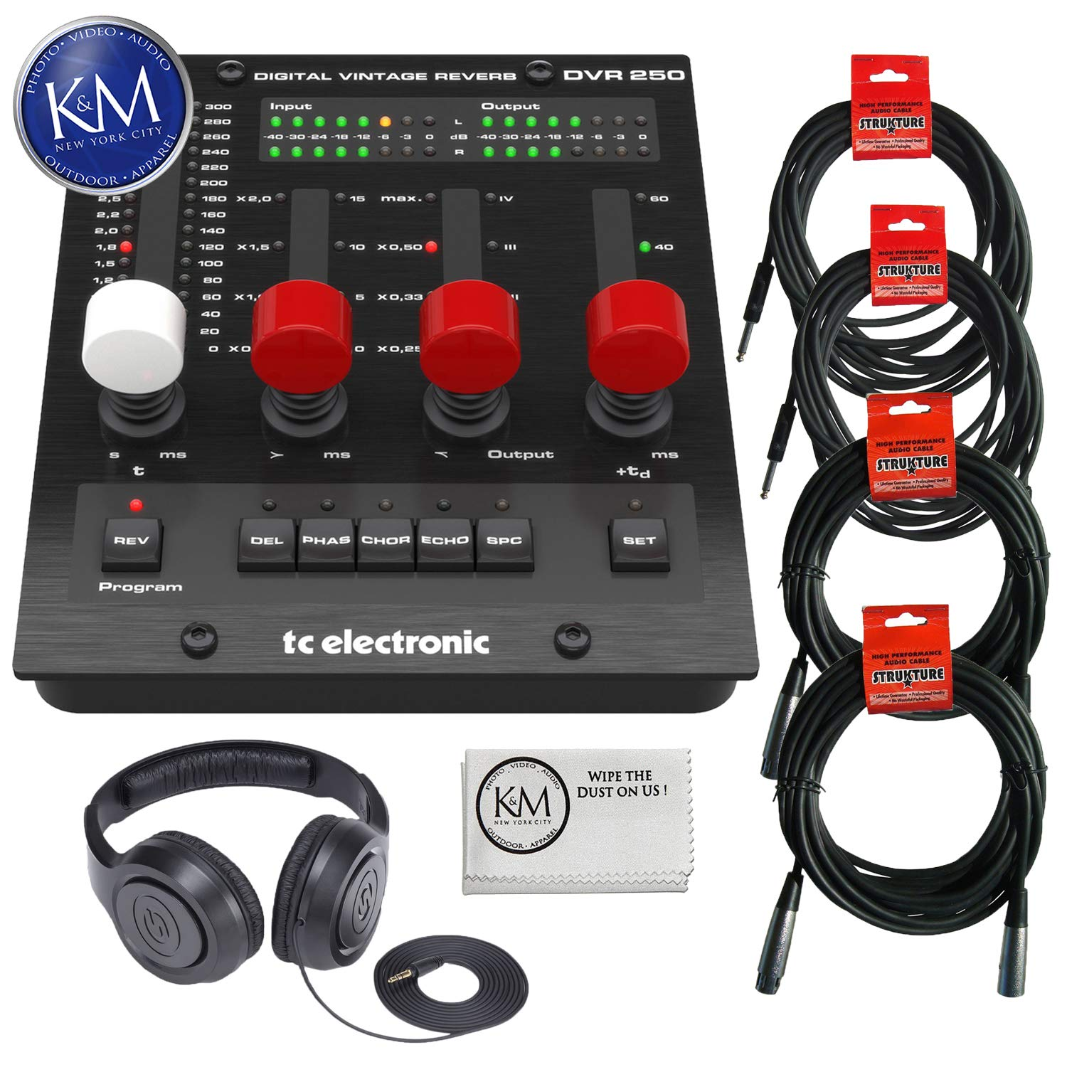 TC Electronic DVR250-DT Digital Vintage Reverb Effects Processor (Hardware Controller & Software) + SR350 Headphones + (2) Instrument Cables + (2) XLR Cables + K&M Cloth Bundle