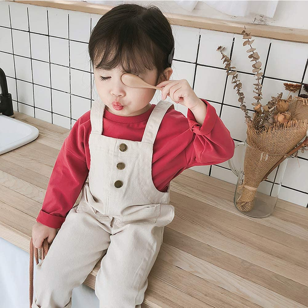 Mornyray Toddlers Unisex Baby Loose Casual Overall Cotton Suspender Pants with Pockets