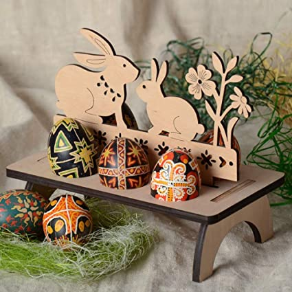 Amazoncom Zconmotarich Wooden Happy Easter Diy Rabbit Bunny Egg