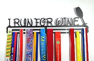 Shangmaidianzi Running Sports Médaille Médaille support Cintre écran I Run pour glissières de vin en métal en acier carbone 2étages professionnel support mural Noir