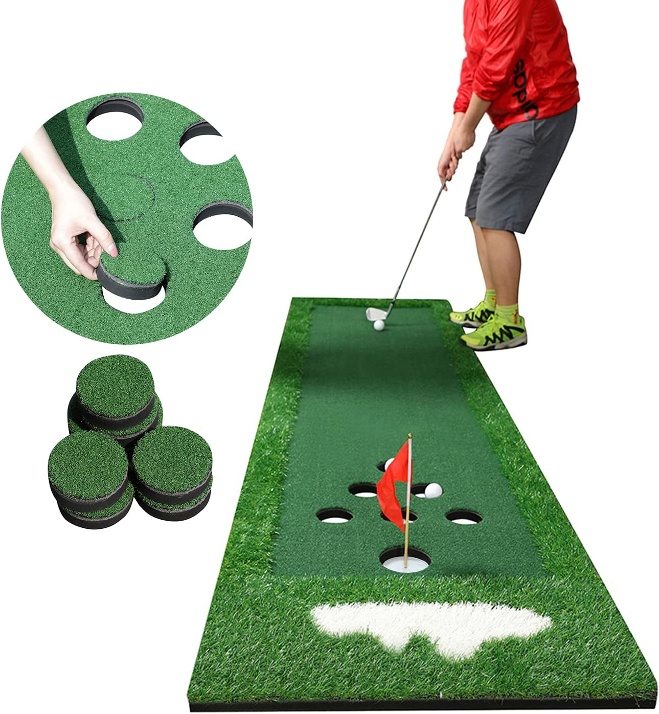 SPRAWL Portable Golf Putting Green Practice Mat   Golf Pong Game Set with Golf Hole Covers & Carrying Bag/Golf Alignment Mirror for Indoor & Outdoor Office Party