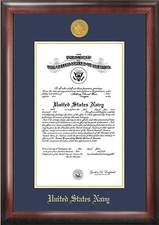 navy commission frame gold embossed