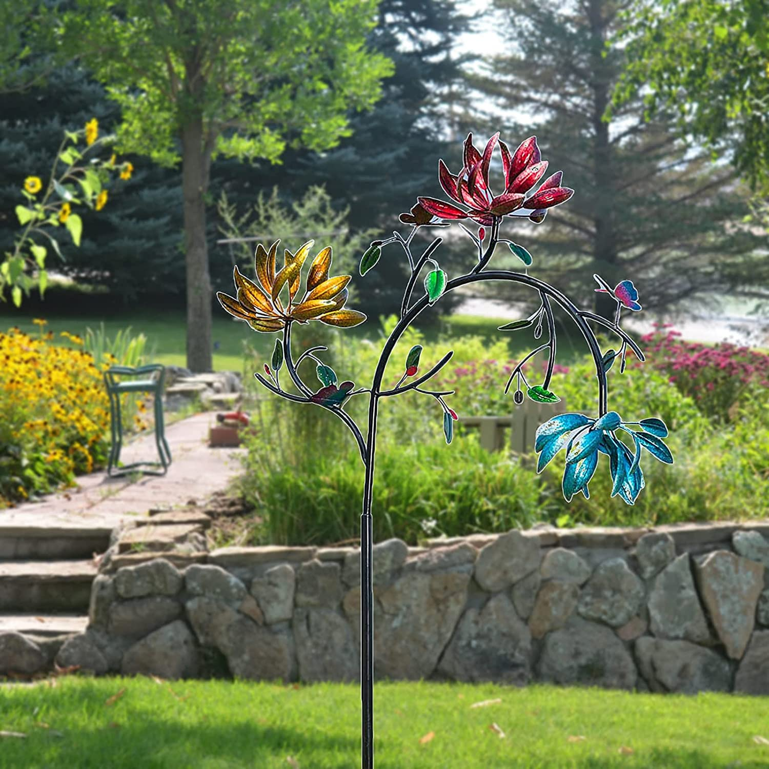 Eangju Large Metal Wind Spinner with Three Spinning Flowers and Butterflies Windmill for Yard and Garden Outdoor Art Decoration (Multicolor)