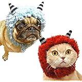 iDog&iCat オリジナル 犬 服 変身かぶりものスヌード モコモコおにさん レッド S