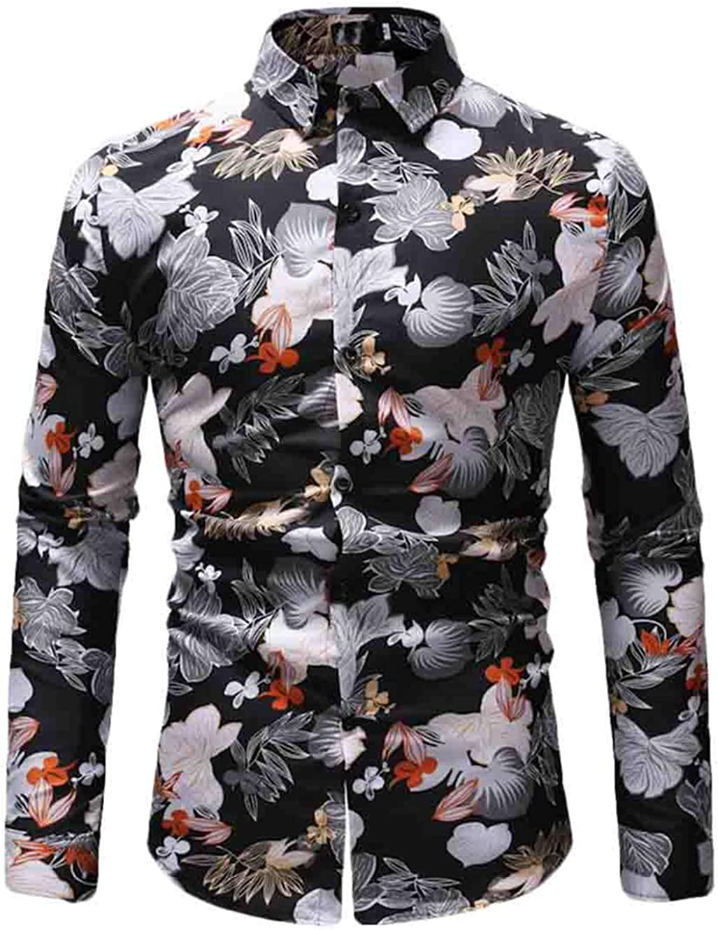 S-Fly Mens Stylish Print Floral Long Sleeve Single Button Down Lapel Winter Shirts