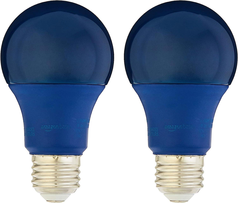 Amazon Basics 60 Watt Equivalent Non Dimmable A19 Led Light Bulb Blue 2 Pack