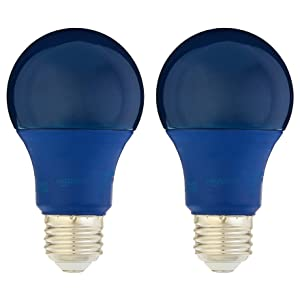 AmazonBasics 60 Watt Equivalent, Non-Dimmable, A19 LED Light Bulb | Blue, 2-Pack