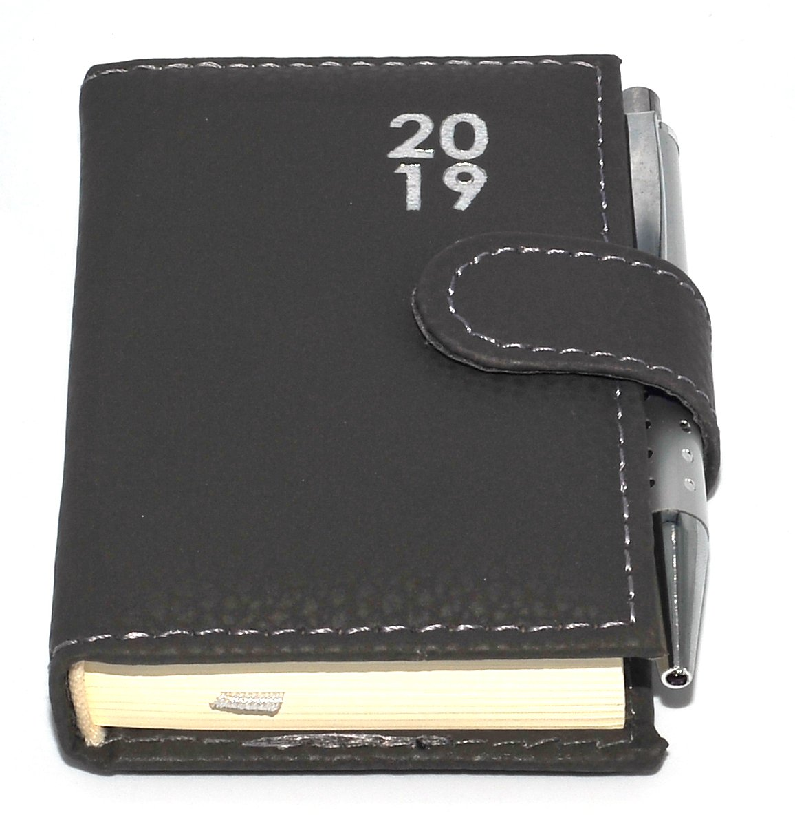 1x 2019 Pocket Diary Day a Page View Leatherette Pen Design at Random icompact