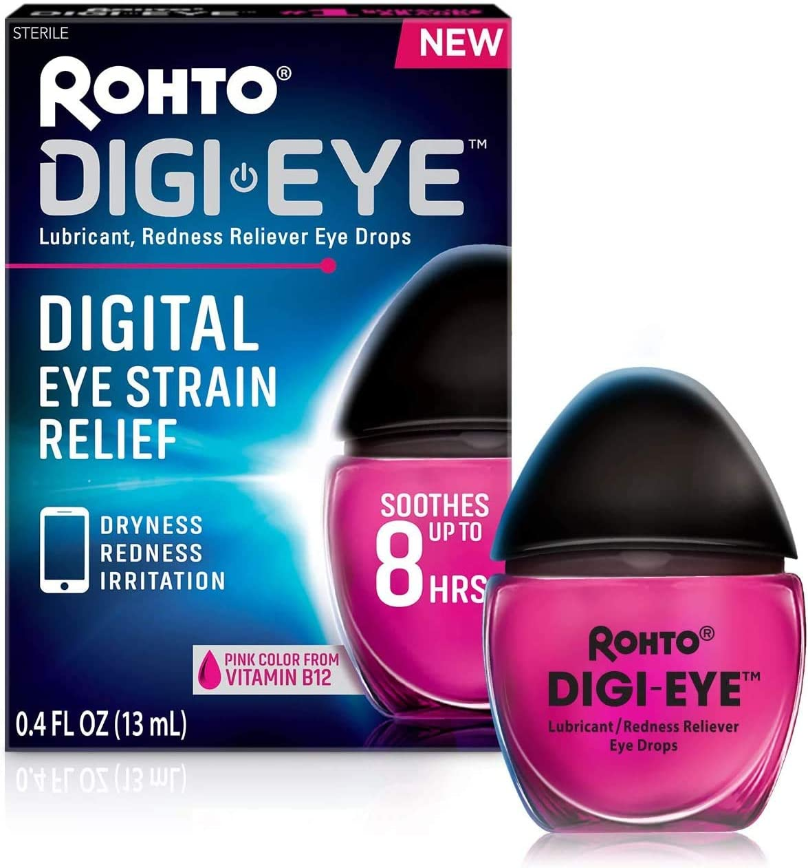 Rohto Digi-Eye Cooling Eye Drops for Digital Eye Strain, 0.4 Ounces (13 milliliters), 2 Count