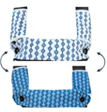 Drool and Teething Pad Reversible Organic Cotton 3-Piece Set for Ergobaby Four Position 360 Baby Carrier (Blue and White Circles)