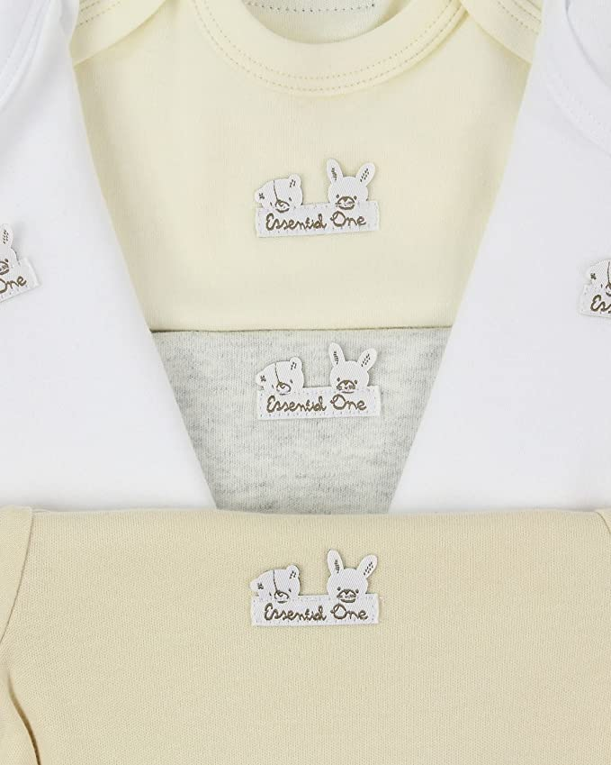 The Essential One ESS205 Baby Unisex 3 Pack Neutral Long Sleeve Bodies Multi