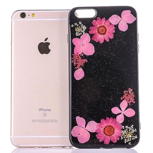 6128d93572 Amazon | iphone7 カバー [TIPFLY] 黒ベース 押し花 フラワー TPUソフト ケース ドライフラワー スキン ピンク  [並行輸入品] | ケース・カバー 通販