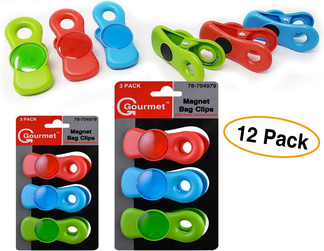 Grips Magnetic Clips All-Purpose (12 Pack) Fridge Magnets, Home, School Classroom and Office Magnets, Bag Clips & Refrigerator Dry Erase Board