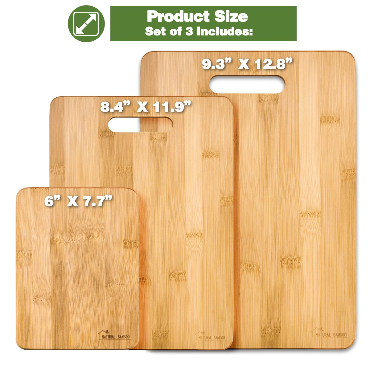 Bamboo Cutting Board [Set of 3], Natural Bamboo 100% Premium Organic; Cutting & Serving Board Set; Used for Cut Food Prep, Meat, Vegetables, Bread, Crackers & Cheese ([Set of 3]) by Natural Bamboo (Image #7)