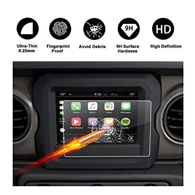 2020 2020 2020 Jeep Wrangler JL Uconnect Touch Screen Protector, R RUIYA HD Clear Tempered Glass Protective Film Against Scratch High Clarity (7-Inch)