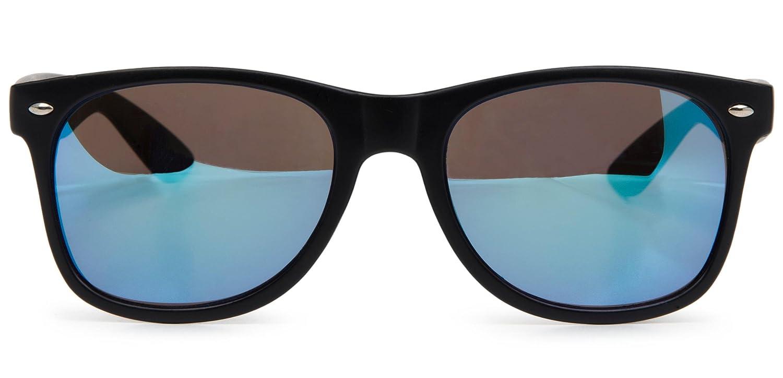 styleBREAKER verspiegelte Nerd Sonnenbrille, Retro Design, Unisex 09020039, Farbe:Gestell Schwarz-Rot matt / Glas Orange-Rot