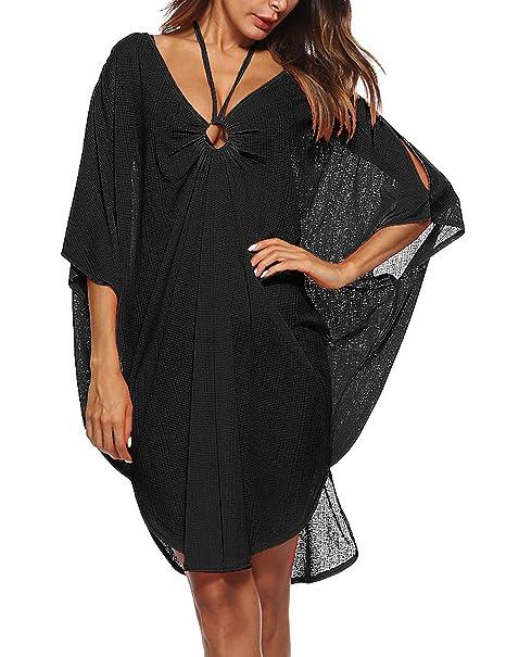 ff904e300abf3 Womens Halter Neck Dolman 3/4 Sleeve Bikini Cover Ups Loose Fit Beach  Blouse Tops