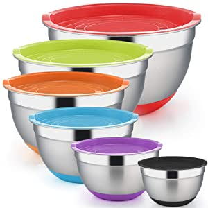 TeamFar Mixing Bowls Set of 6, 5/4 / 3/2.5/1.5/1 Qt, Salad Bowl Nesting Bowls Stainless Steel with Lids & Bottom, BPA Free & Healthy, Thick & Sturdy, Easy Clean - 12 PCS