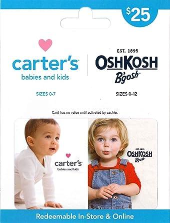 4d7fc6b30 Amazon.com: Carter's/OshKosh B'gosh Gift Card $25: Gift Cards