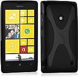 Nokia Lumia 520 Custodia silicone TPU in NERO PROFONDO di Cadorabo (Disegno X) – Morbida Cover Protettiva Super Sottile con Bordo Protezione – Back Case posteriore Gomma Bumper antiurto originale Ultra Slim Gel Guscio flessibile fina thin