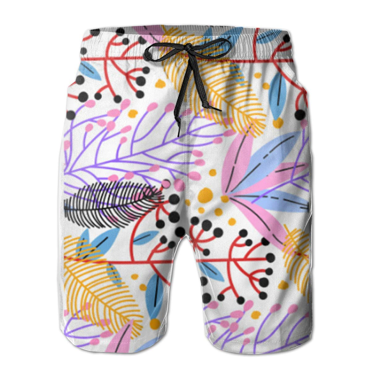 ZHANGEN Vector Floral Pattern Beach Board Shorts Mens Beach Shorts Swim Trunks Swimsuit Athletic Shorts