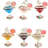 Cocktail Glass Charms - Enamel and Silver Plated - Set of 6