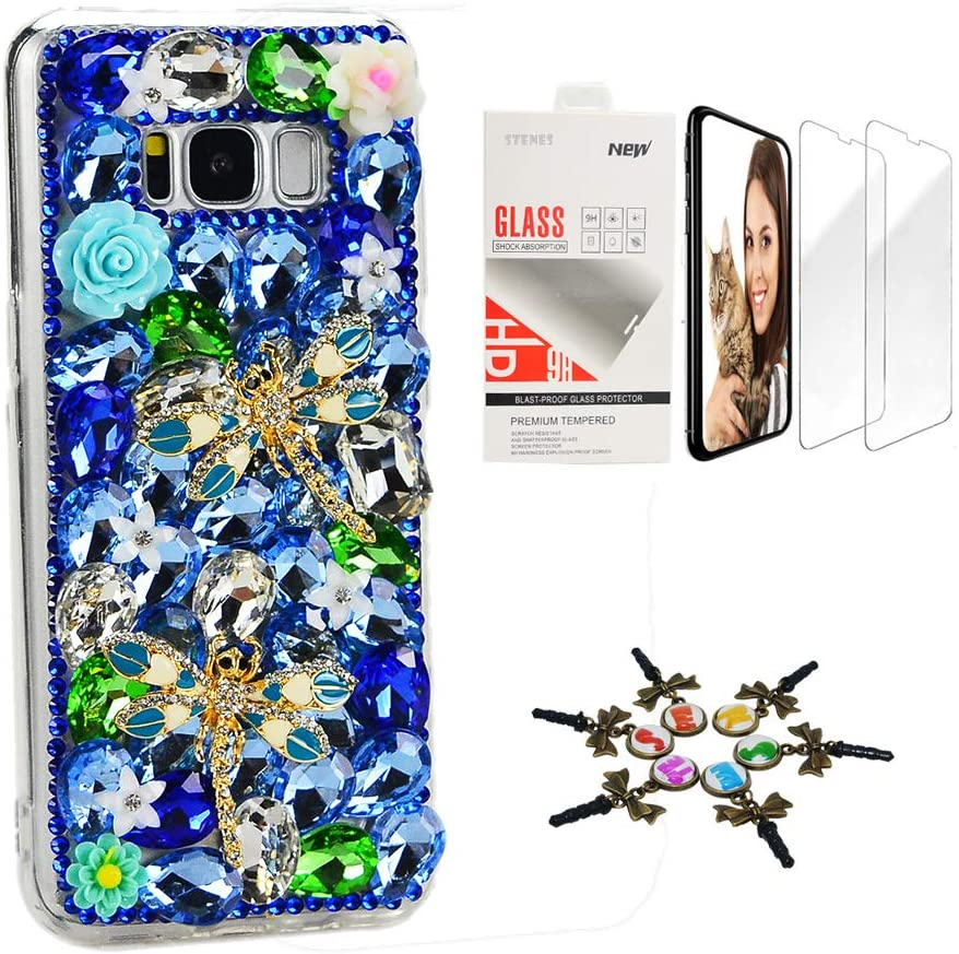 STENES Sparkle Case Compatible with Samsung Galaxy J2 Prime - Stylish - 3D Handmade Bling Dragonfly Rose Flowers Design Cover Case with Screen Protector [2 Pack] - Blue
