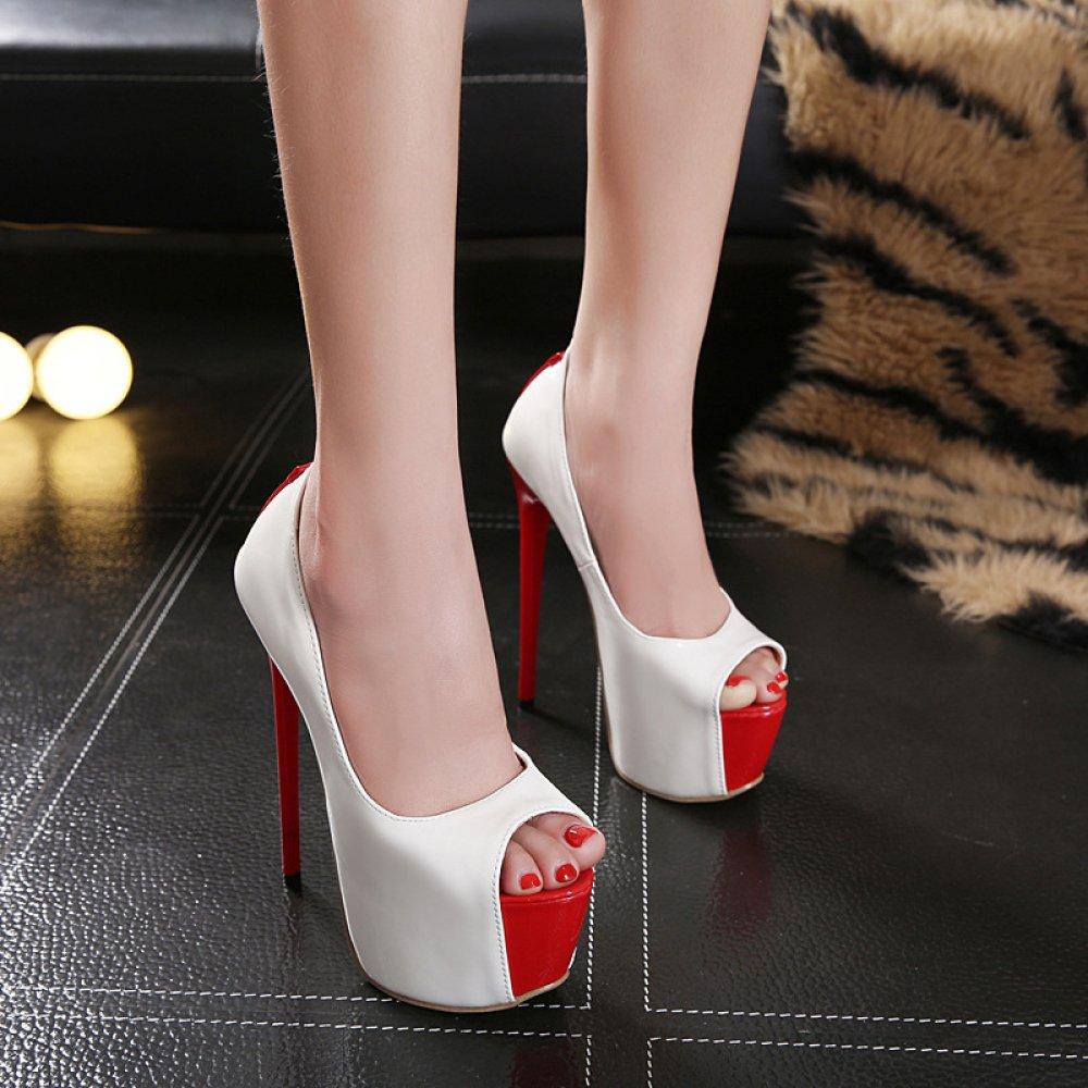Damenschuhe Extreme Stiletto Stiletto Stiletto Heels Peep Toe Plateau Slip auf Nachtclub Hochzeit Bankett Sandalen Weiß fecce9