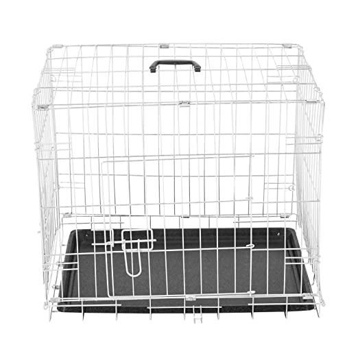 PawHut Jaula Plegable de Metal para Mascota Perro 2 Puertas ...