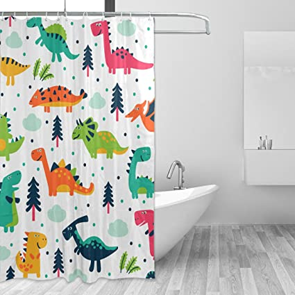 jstel decor shower curtain cute dinosaurs cartoon pattern print 100 polyester fabric shower curtain 60 - Cute Shower Curtains