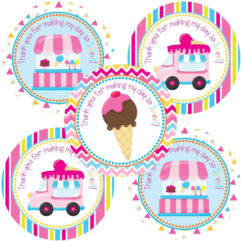Amazon.com: Ice Cream Party Thank You Sticker Labels - Girls Party ...