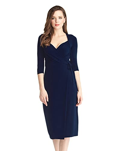 Grapent Women's Navy Blue 3/4 Sleeve Formal Ruched Sweetheart Midi Wrap Dress