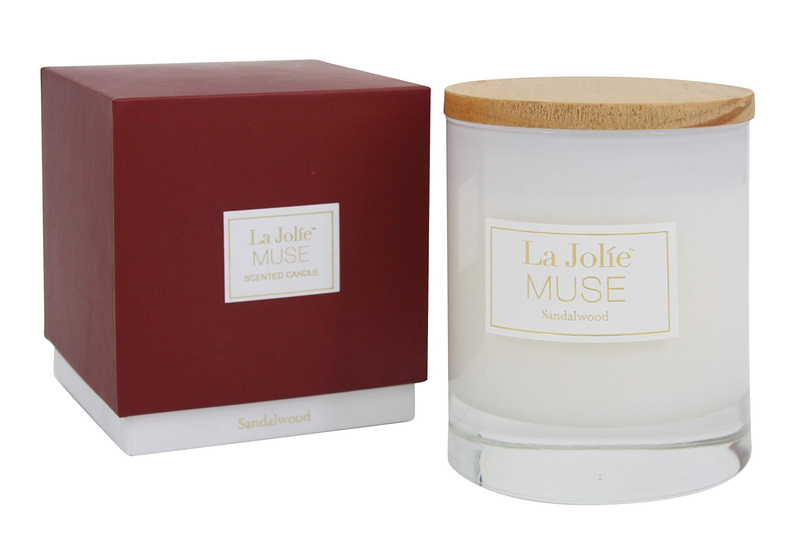 LA JOLIE MUSE Wood Wick Soy Candles Sandalwood Scented Glass Jar Candle, 45 Hours Burning, Gift by LA JOLIE MUSE (Image #6)