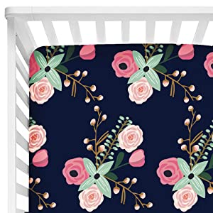 """Baby Floral Fitted Crib Sheet for Boy and Girl Toddler Bed Mattresses fits Standard Crib Mattress 28x52"""" (Navy Lilac)"""