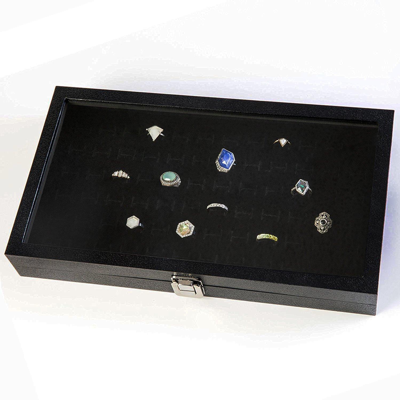 HUJI Glass Top Ring Display Showcase With Velvet Insert Liner Jewelry Organizer (1, 72 Slot Case)