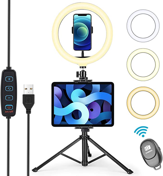 YouTube,Facebook Live,Twitch and Blogging Makeup Ring Light with Remote Controller and Microphone Phone Holder for iPad,Pixel 19inch LED Selfie Circle Lights with LCD Display for Photography,Vlog