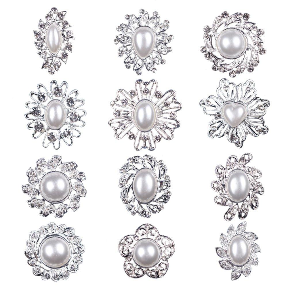 Mutian Fashion Lot 12pc Clear Rhinestone Crystal Flower Brooches Pins
