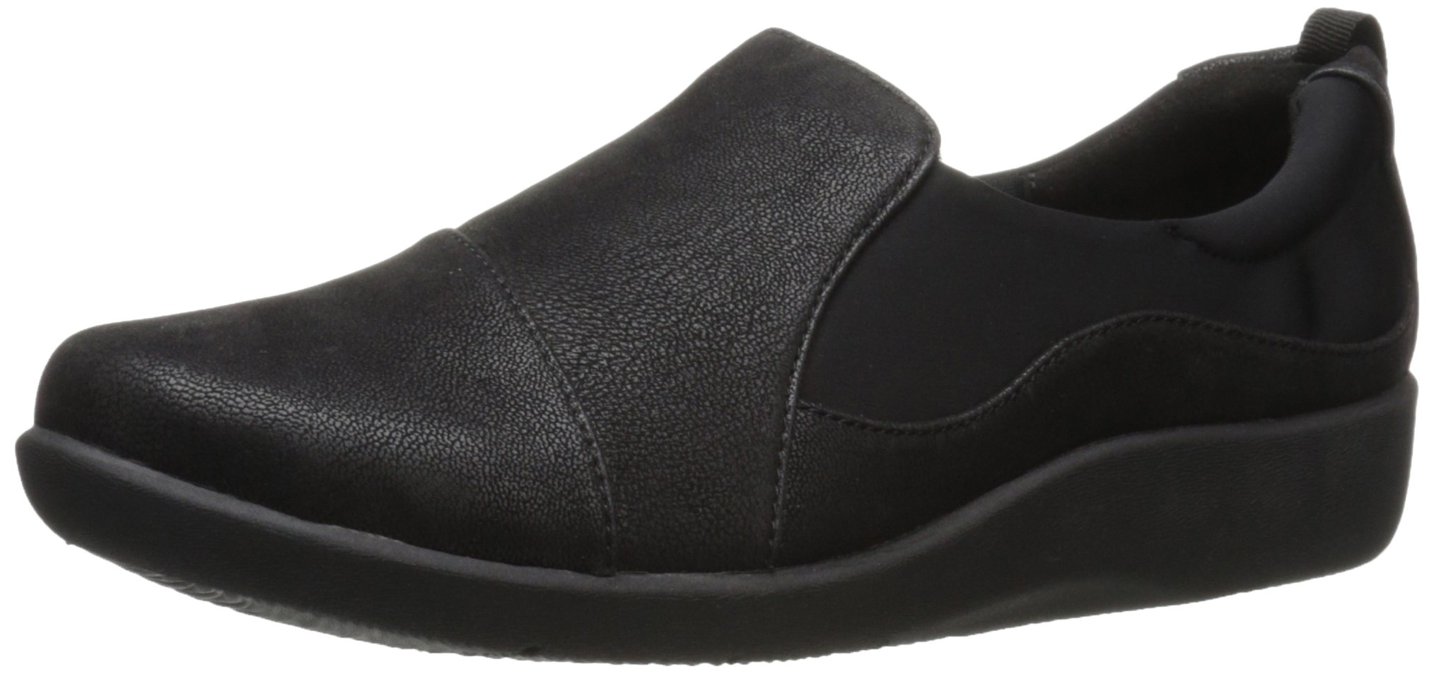 Clarks Women's CloudSteppers Sillian Paz Slip-On Loafer, Black Synthetic Nubuck, 8 M US by CLARKS