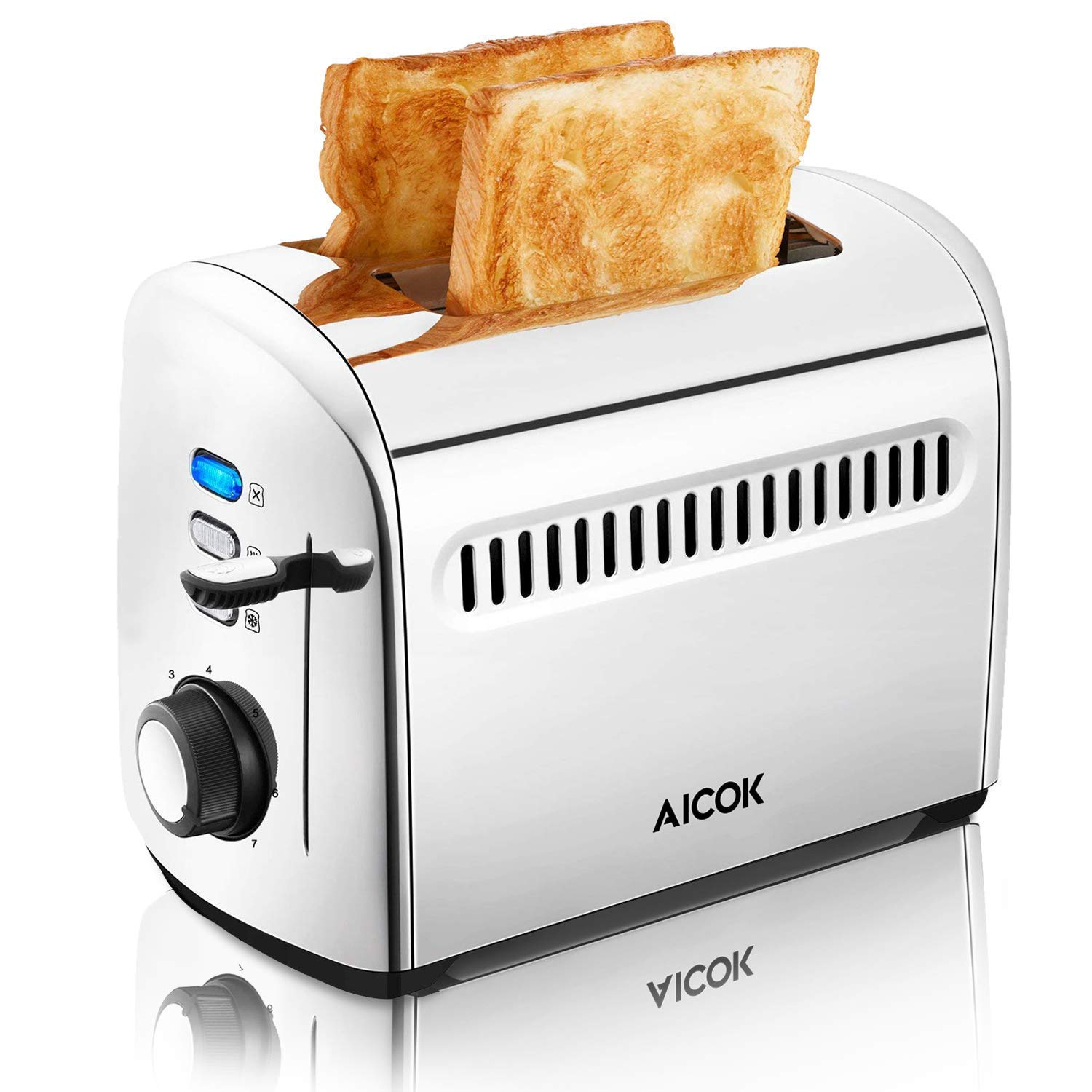 Toaster, Aicok 2 Slice Stainless Steel Toaster with Bagel, Defrost, Cancel Function, Extra-Wide Slots, 7 Browning Control, 850W, Silver