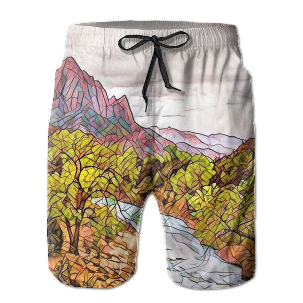 Jingclor Mens Beach Shorts Watercolor Man With Sunglasses Quick Drying Swim Trunks Boardshort With Pocket
