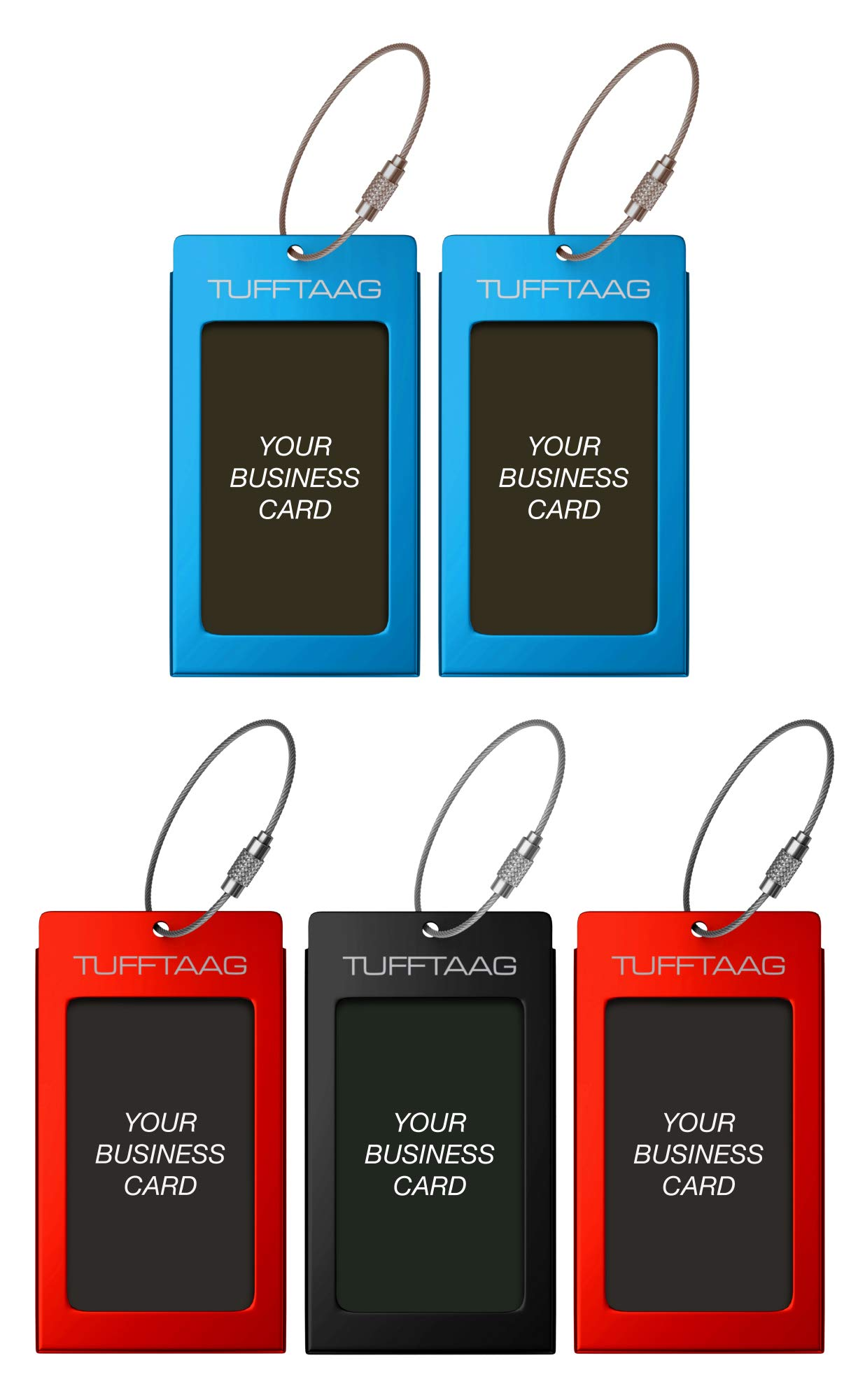 Luggage Tags TUFFTAAG for Business Cards, Metal Suitcase Labels, 5 Pack Bundle (2 Blue, 2 Red, 1 Black)
