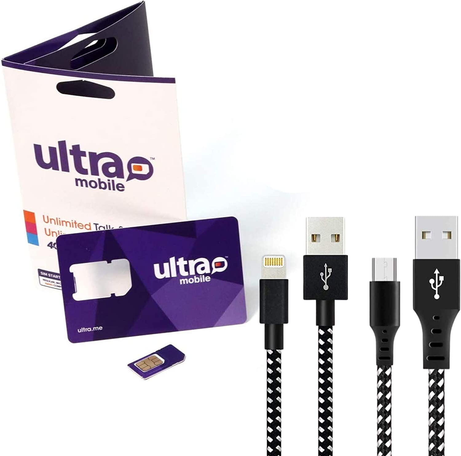 Cell Phone and Smart Phone Compatible SIM Card for 2G 3G 4G LTE GSM Devices - iPhone, Galaxy, Smartwatches and Wearables - Choose Your Plan - 3ft Lightning and Micro USB Cable