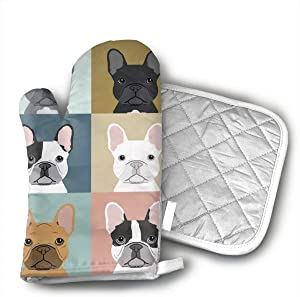 French Bulldogs Dog Oven Mitts and Potholders (2-Piece Sets) - Kitchen Set with Cotton Heat Resistant,Oven Gloves for BBQ Cooking Baking Grilling