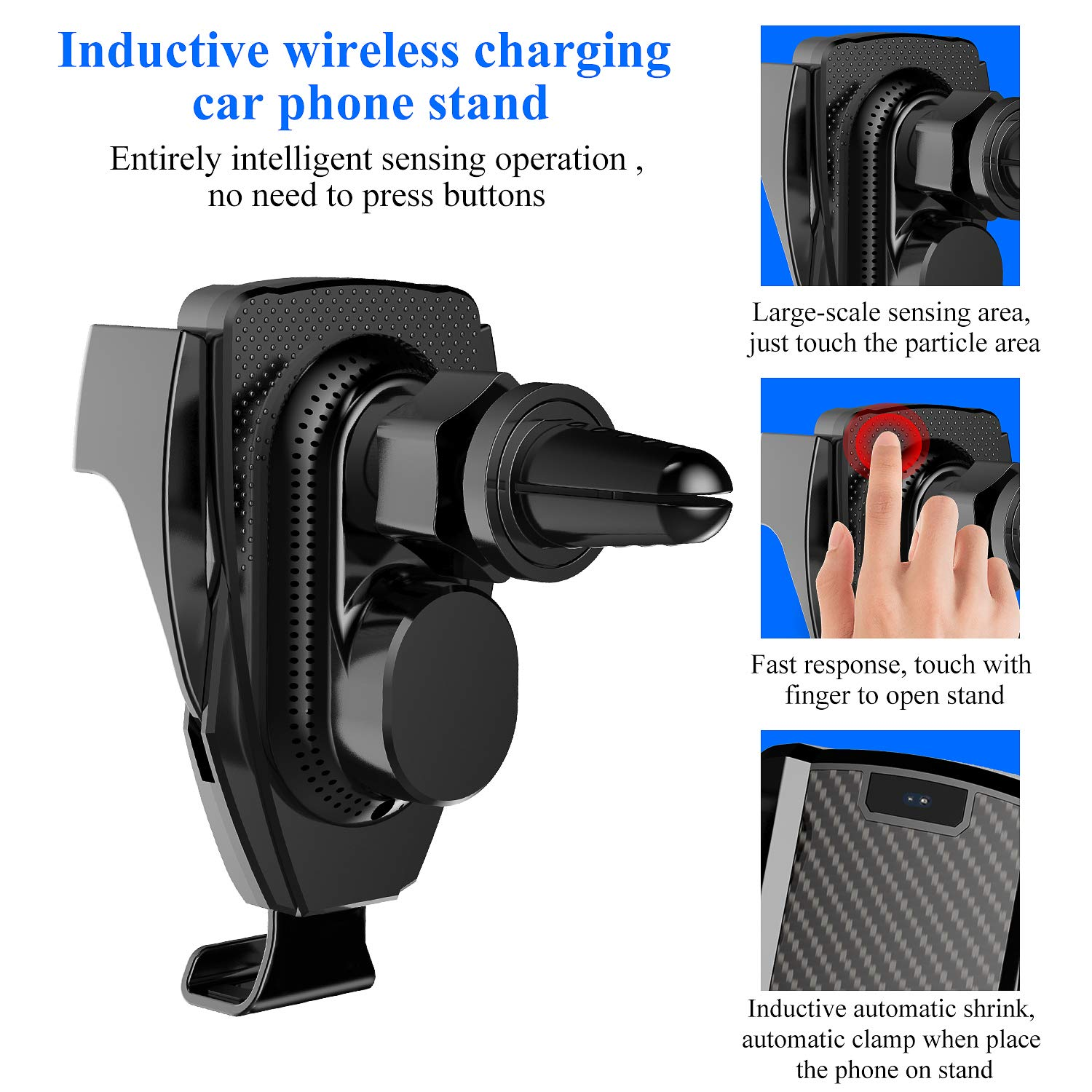 BWXJH Wireless Car Charger,Multi-Touch Auto-Clamping 10W//7.5W Qi Fast Charging Car Phone Holder for iPhone Xs//Max//X//XR//8//8 Plus,Samsung Note 9// S9// S9+//S8//S10//S10+//S10e Air Vent Mount