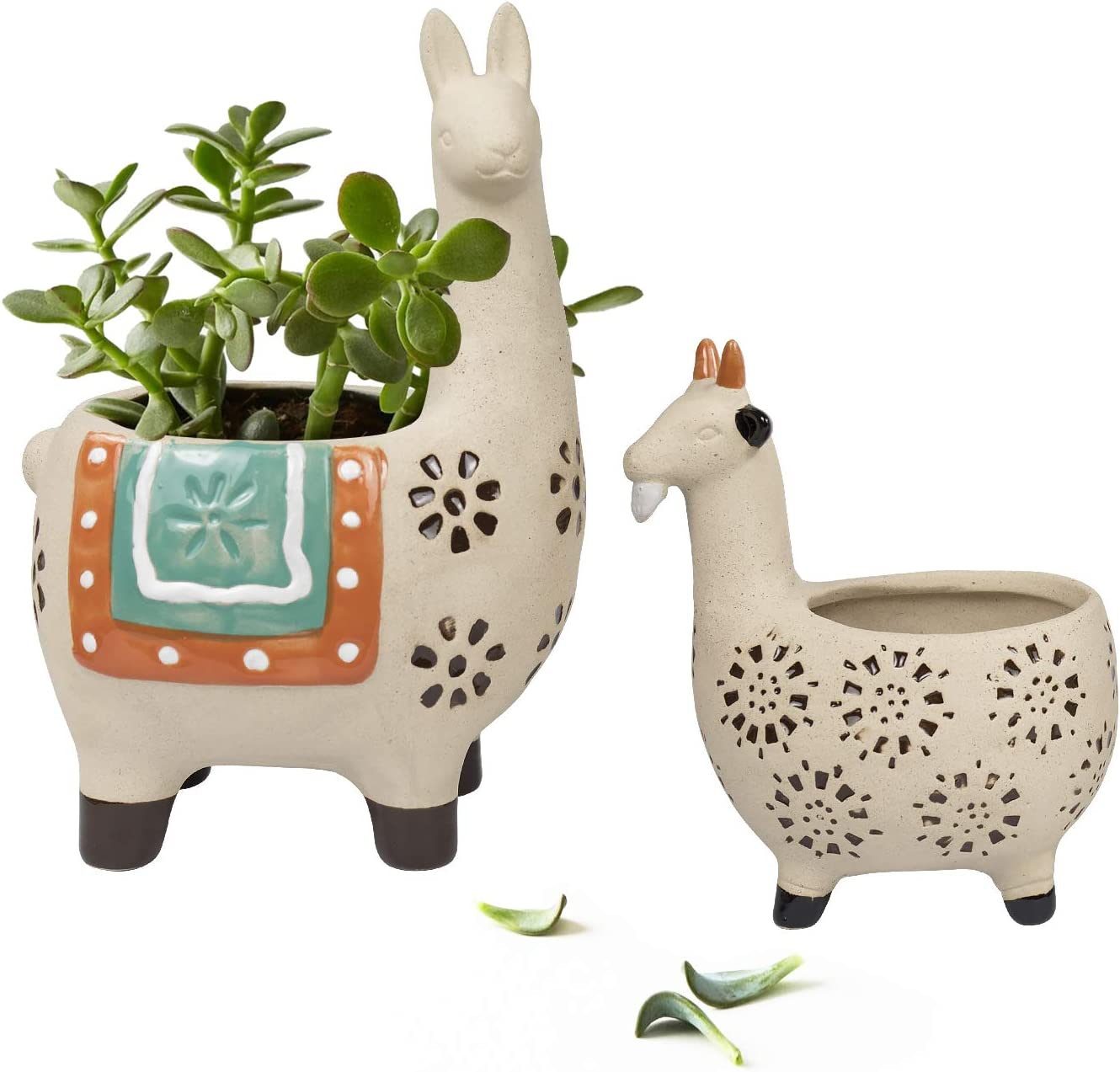 Ceramic Animal Succulent Planter Pots - 6.1 + 4.5 inch Cute Alpaca/Llama & Goat Rough Pottery Unglazed Desktop Flower Plant Pots Indoor with Drainage for Herb Cactus Air Plants, Home Decor Gifts