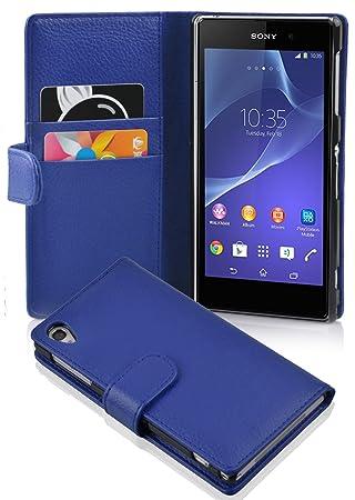 Cadorabo Carcasa para Sony Xperia Z2 móvil en Rey Azul Funda con tarjetero de struktri ertem piel sintética Case Cover Carcasa Funda Book Style Rey de ...