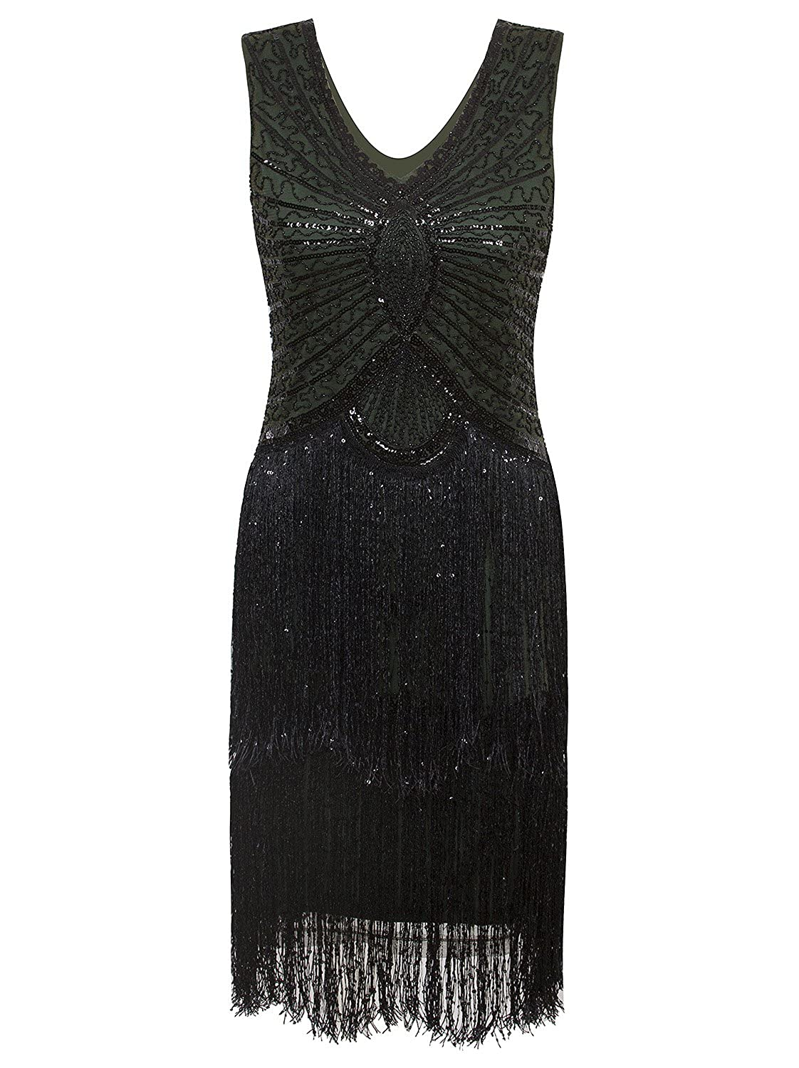 VIJIV 1920s Style Inspired Charleston Sequin Layer Tassel Cocktail Flapper Dress, Green, Small